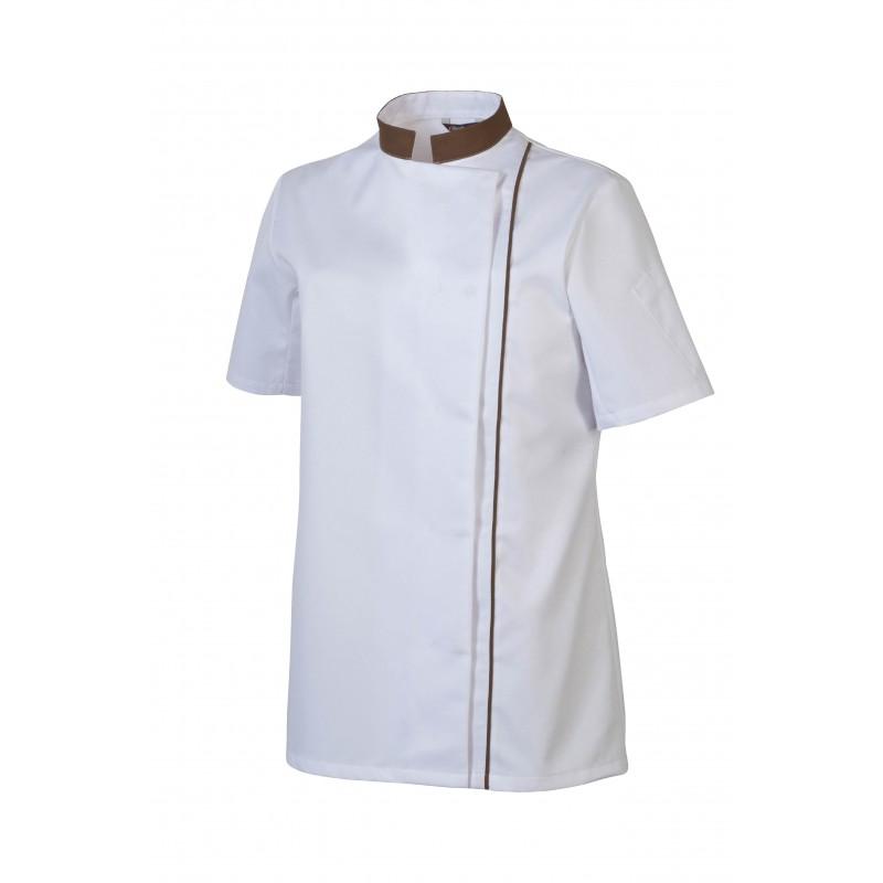 veste cuisine femme blanc col couleur manches courtes - epi06 - Vetement Cuisine Femme