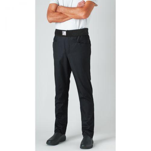 Pantalon de cuisine coupe slim Ceinture velcro noir