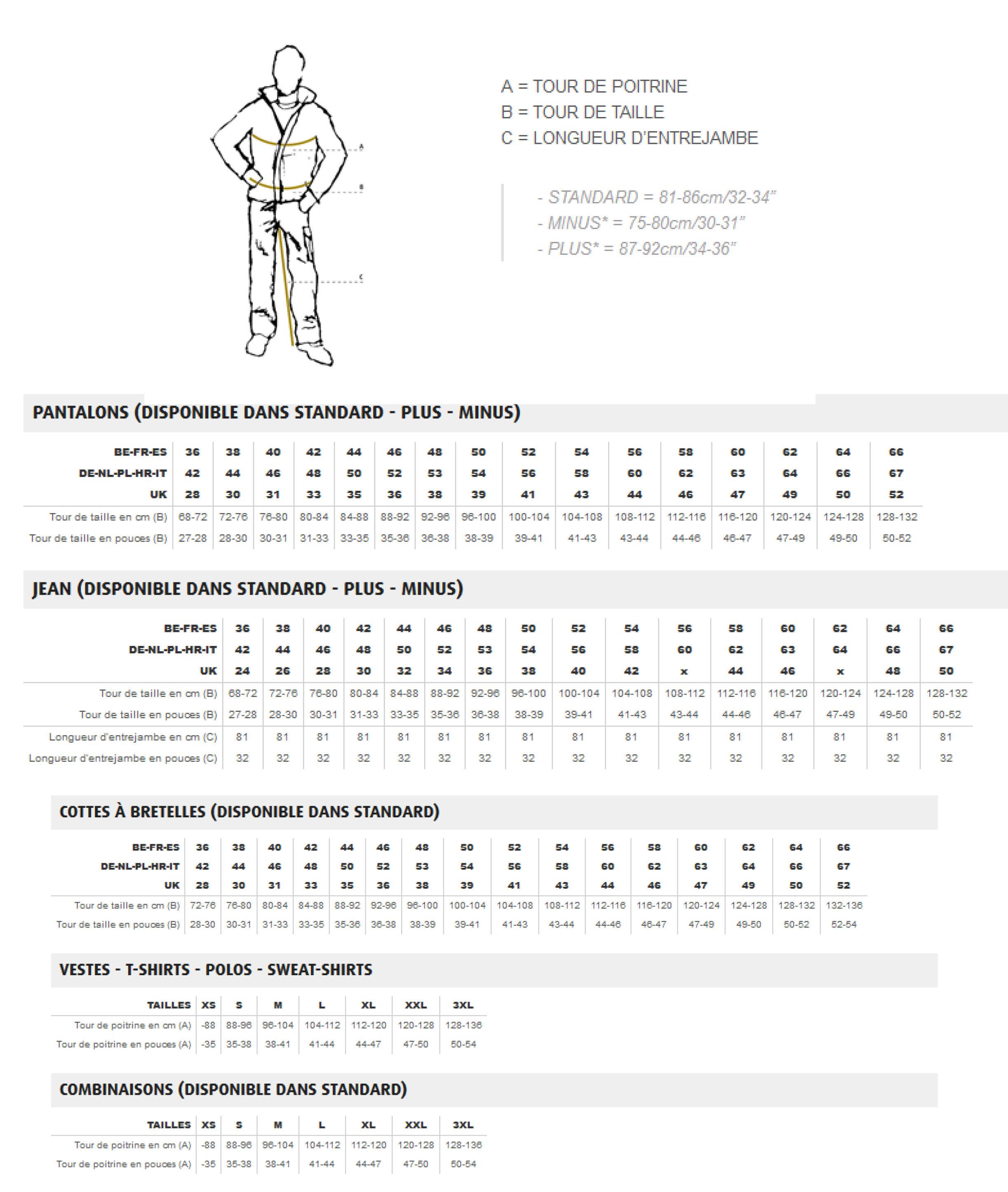 Guide des tailles pour Dassy